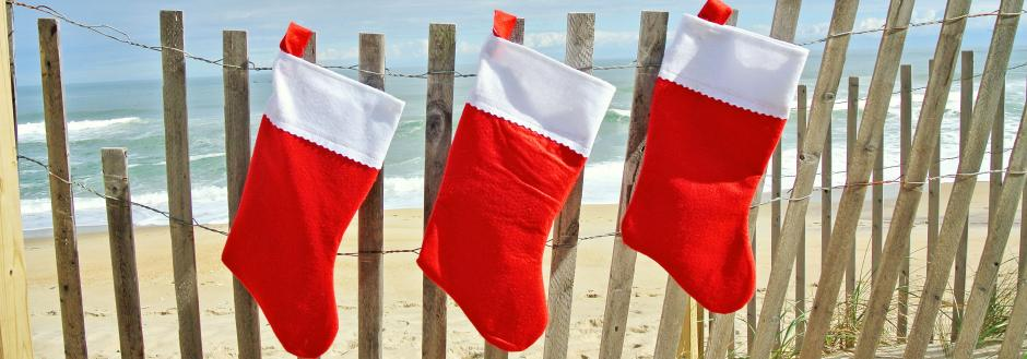 Christmas Stockings on Sand Fence